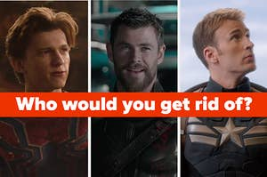 Images of Spider-Man Thor and Captain America with the question 'who would you get rid of'