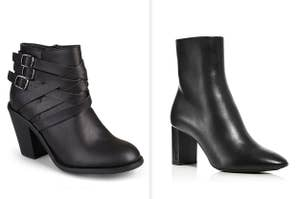 Two black ankle boots, one of which costs way more than the other