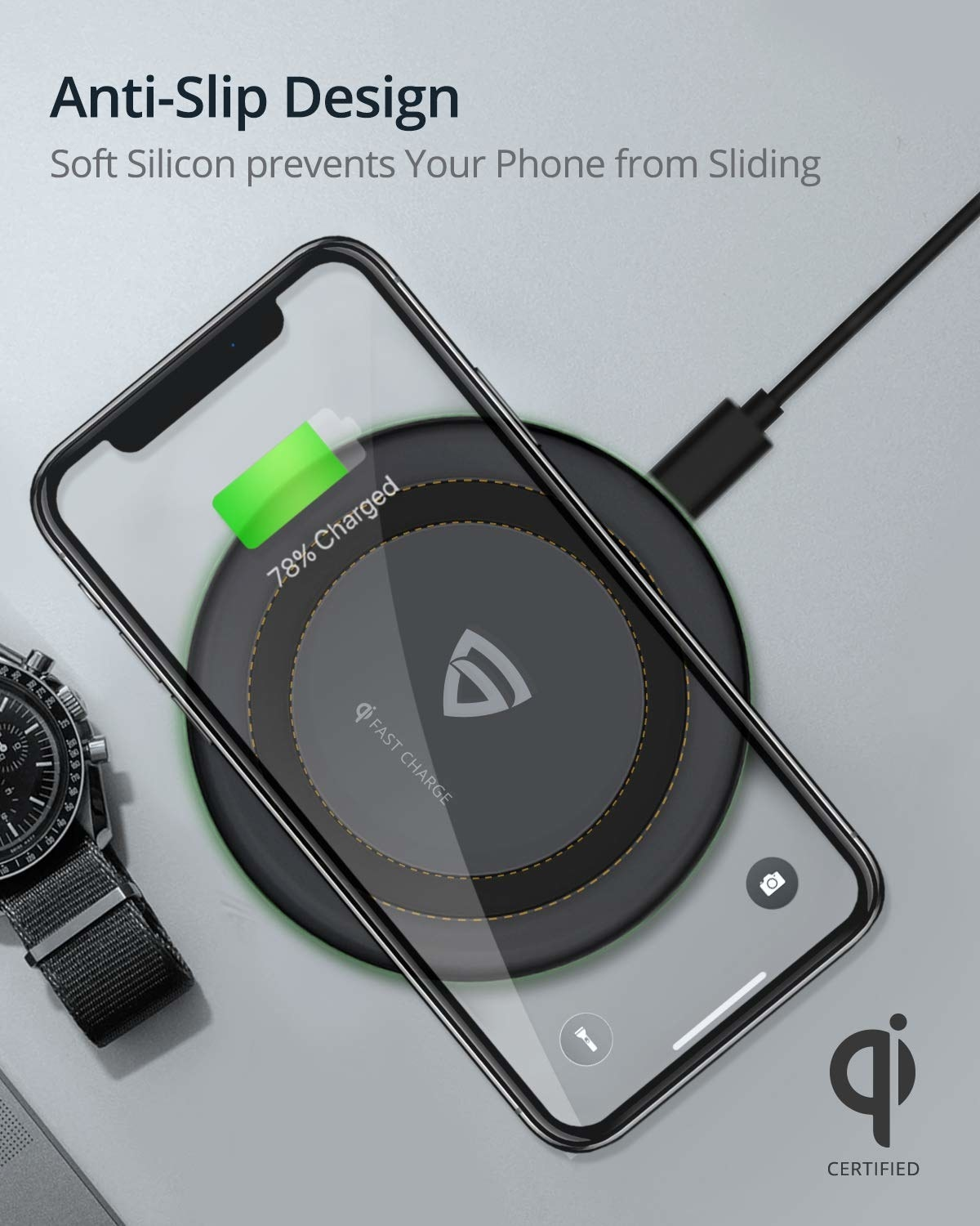 A wireless charger with a phone on it