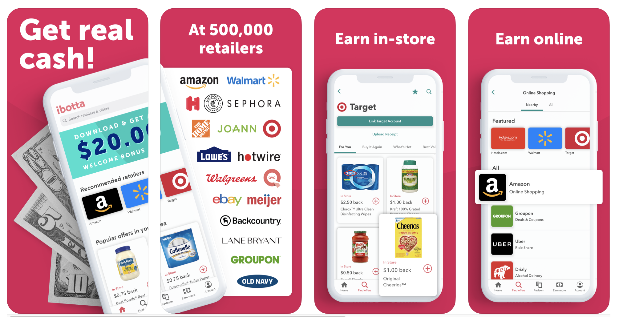 Screens showing that the app works for 500,000 retailers