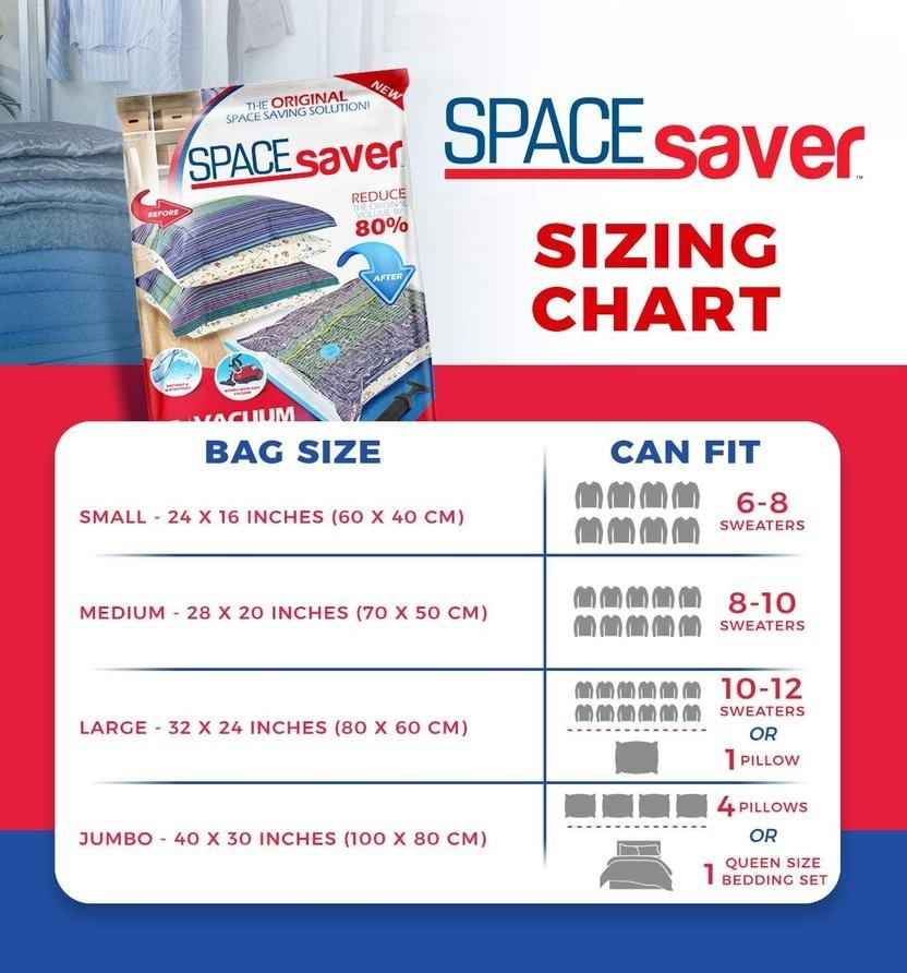 A size chart for the bags: small is 24 x 16 inches (fits 6-8 sweaters), medium is 28 x 20 inches (fits 8-10 sweaters), large is 32x24 inches (fits 10-12 sweaters), and jumbo is 40x30 inches (fits 4 pillows or one queen bedding set)