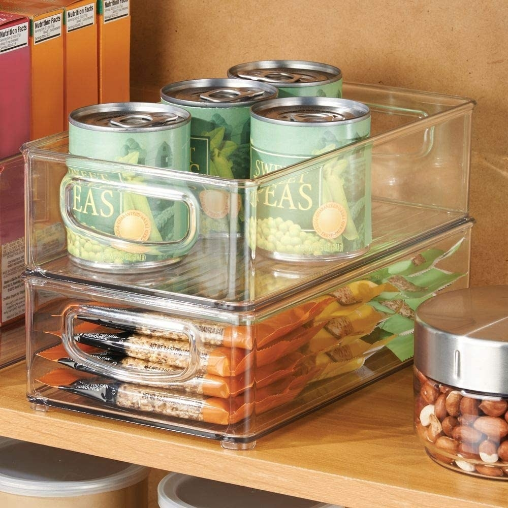Two clear plastic food storage bins stacked on top of each other