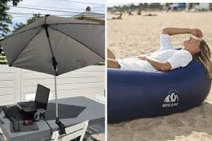 umbrella and lounge chair