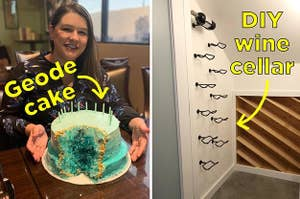 Sparkly geode cake, and a DIY wine cellar