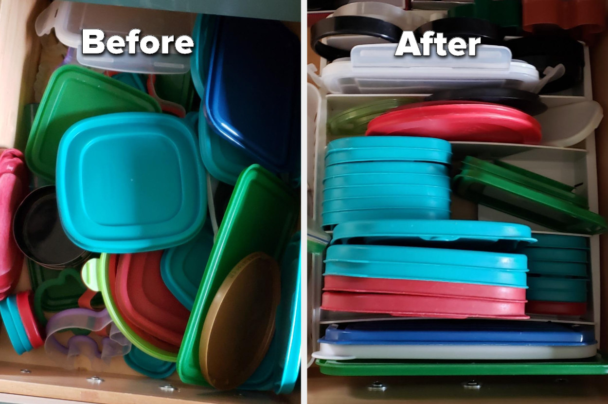 Before and after image of reviewer's messy drawer full of lids now completely organized