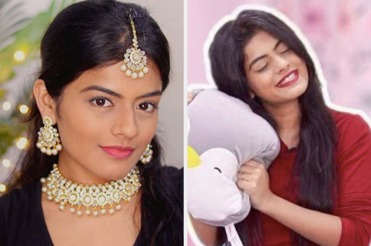 youtuber dhwani bhatt poses in indian jewellery and then with her soft toy pillow