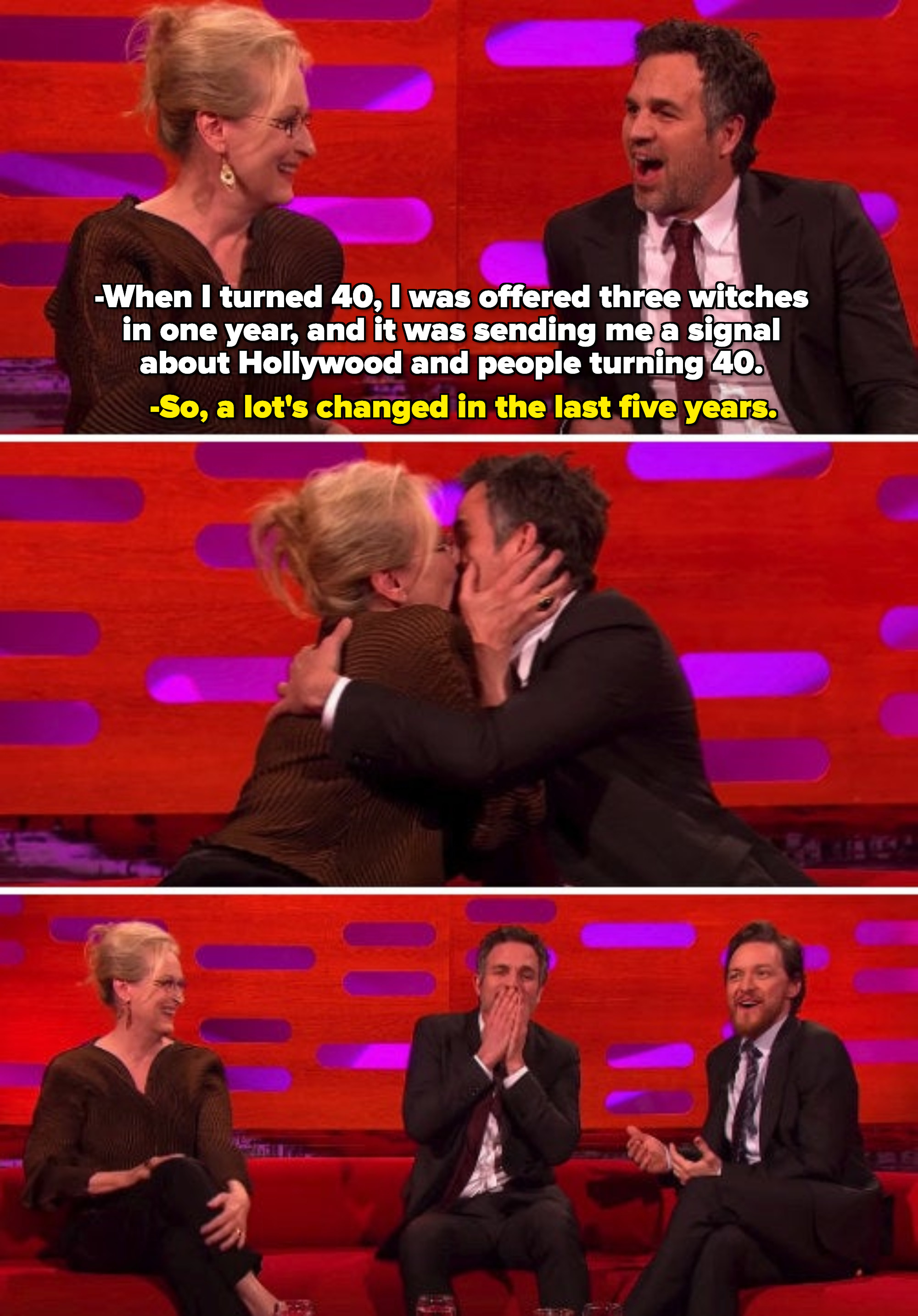 Mark Ruffalo complimenting Meryl Streep about how young she looks