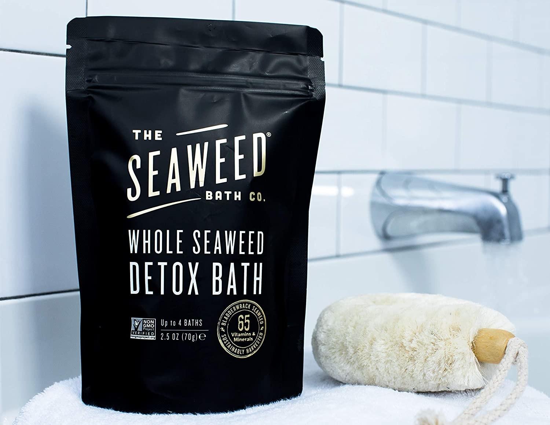 "black packaging labeled ""whole seaweed detox bath"""