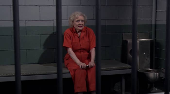 """Betty White's character sitting in jail in """"Hot in Cleveland"""""""