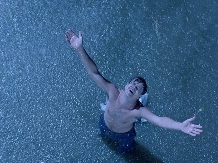 Andy in the rain in The Shawshank Redemption