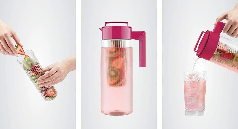 on the left, fruit being added to inner infuser; in middle, fruit added to pitcher; on right, model pouring tea into glass