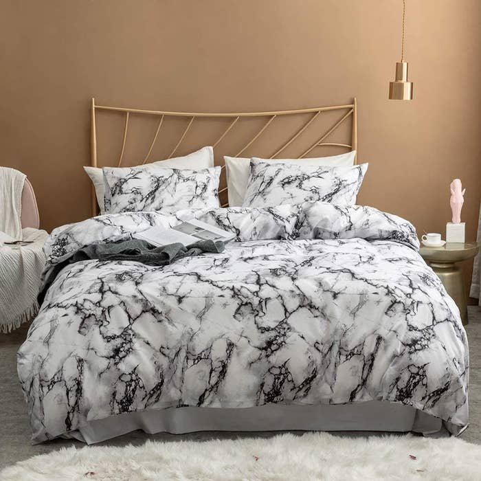Black and white marble bedding duvet cover and pillow shams
