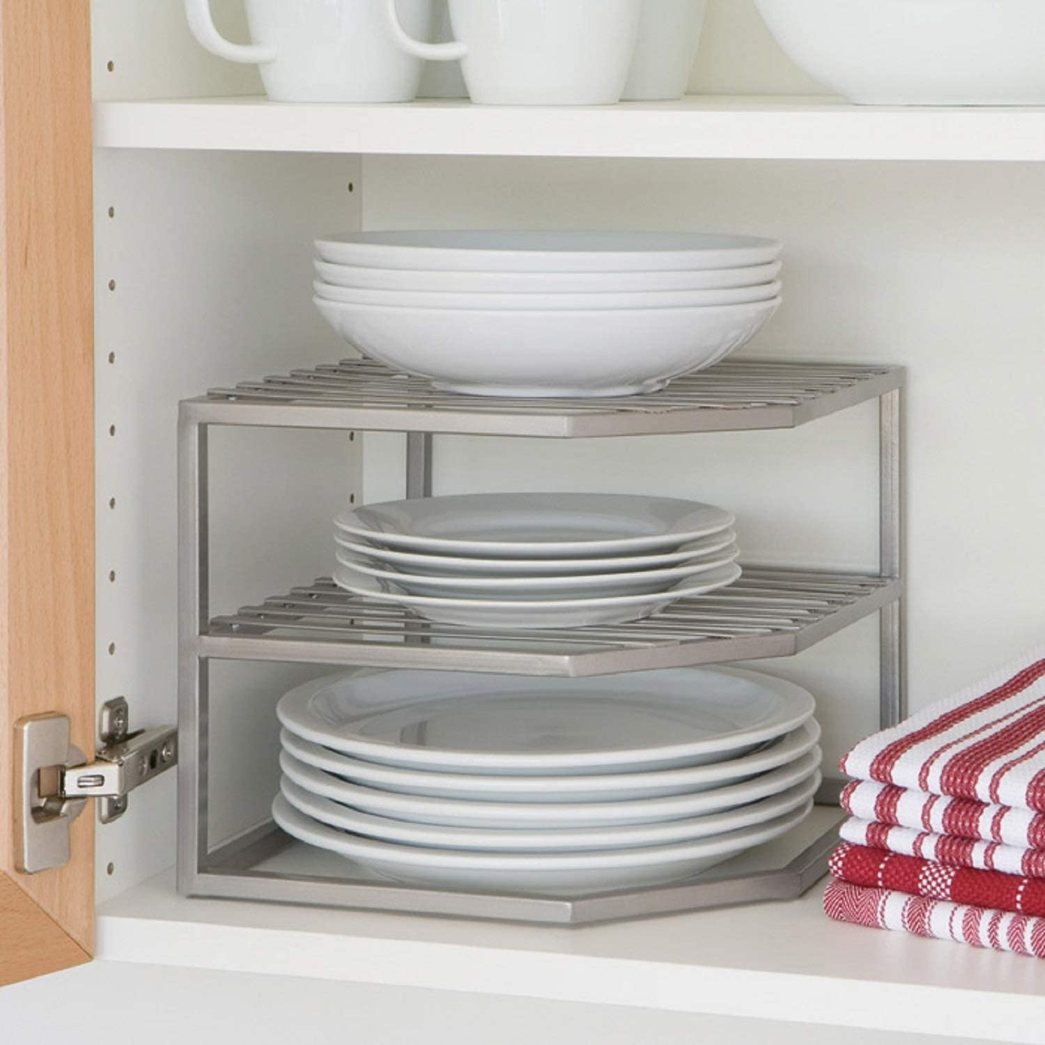 A platinum corner dish and bowl organizer with wire-framed shelves