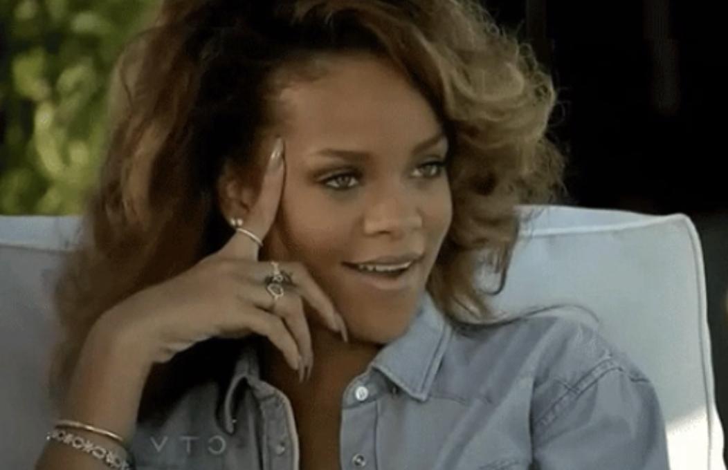 Rihanna looking shocked/intrigued