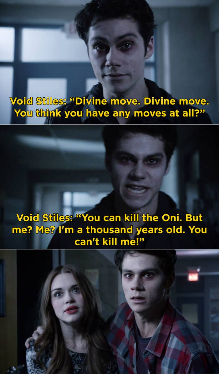 """Void Stiles telling Stiles and Lydia, """"You can kill the Oni. But me? Me? I'm a thousand years old. You can't kill me"""""""