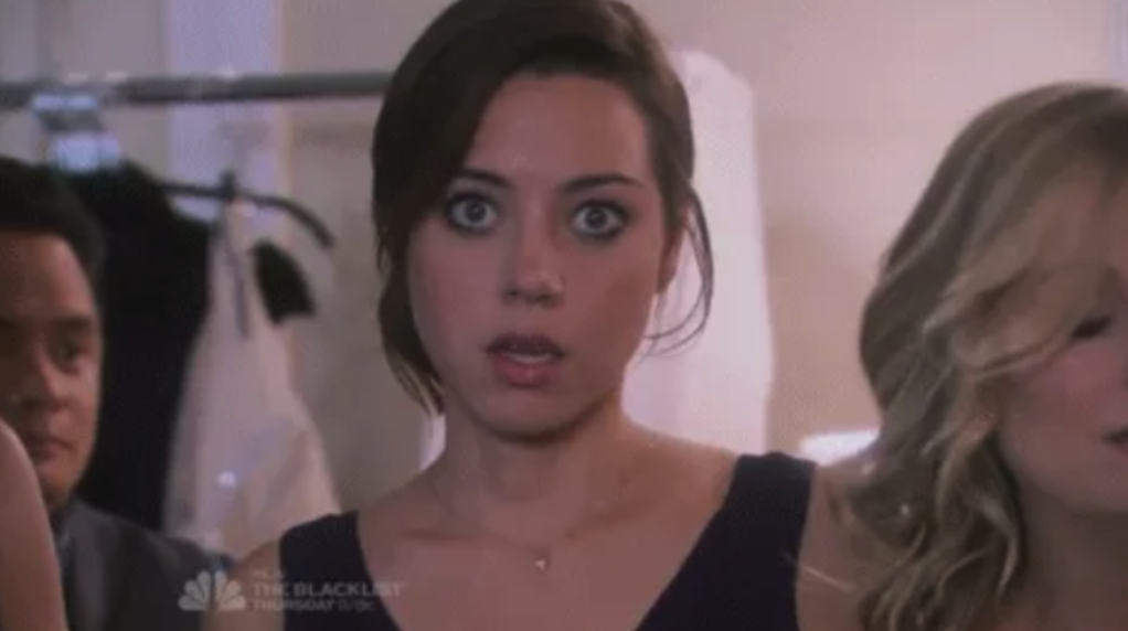 """April from """"Parks and Rec"""" being shocked"""