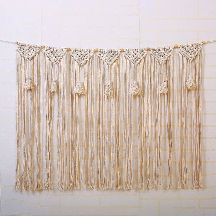 natural rope macrame wall hanging with tassels