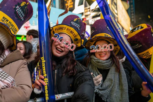 Revelers ringing in 2020 in Times Square