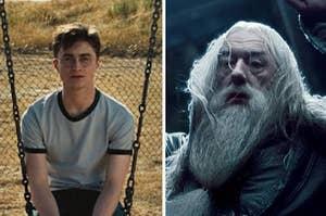 哈利·波特坐在秋千上,邓布利多摔死了