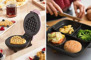 Side by side of mini heart-shaped waffle maker and nonstick divided pan