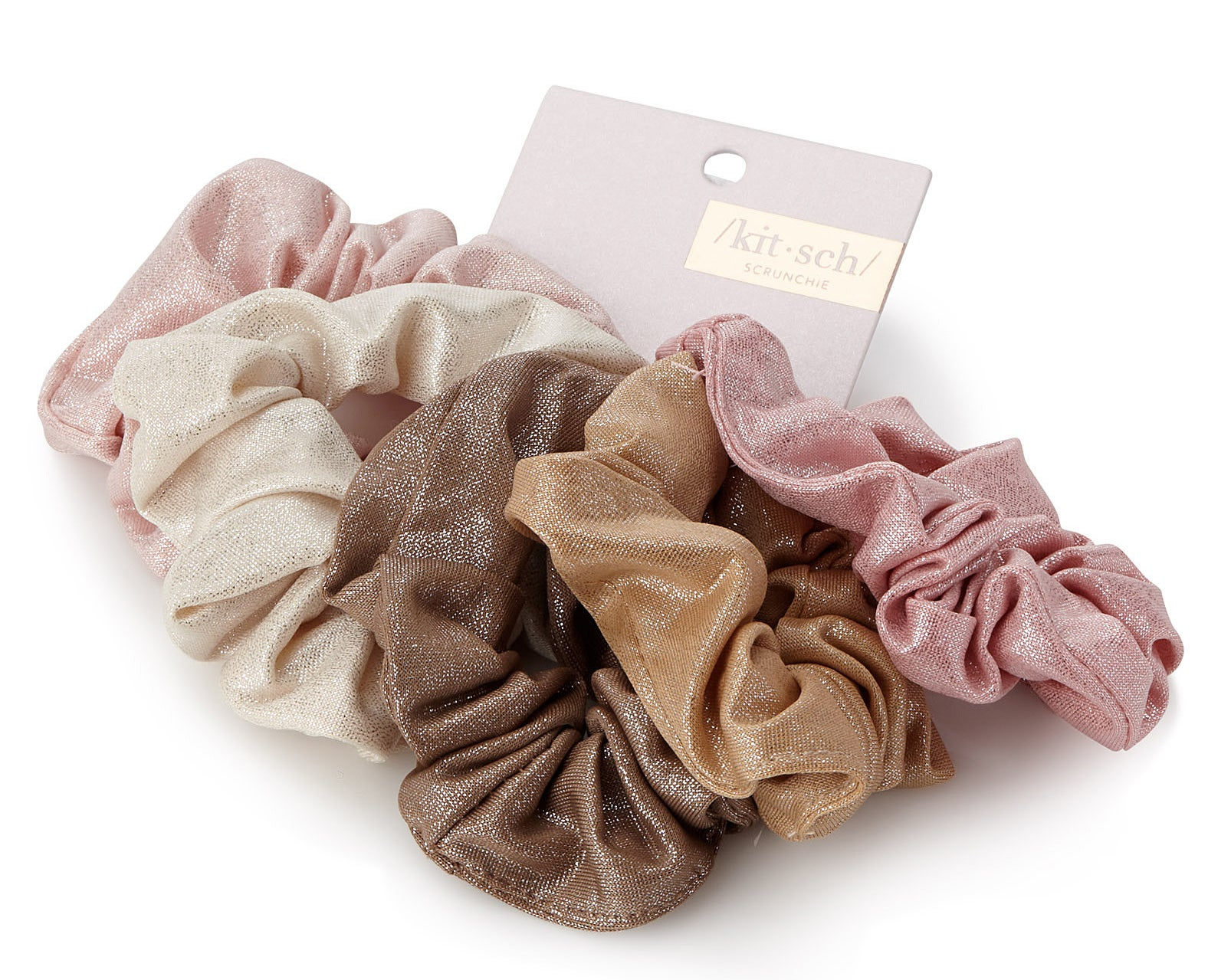 Five scrunchies with a faint shine held together by packaging