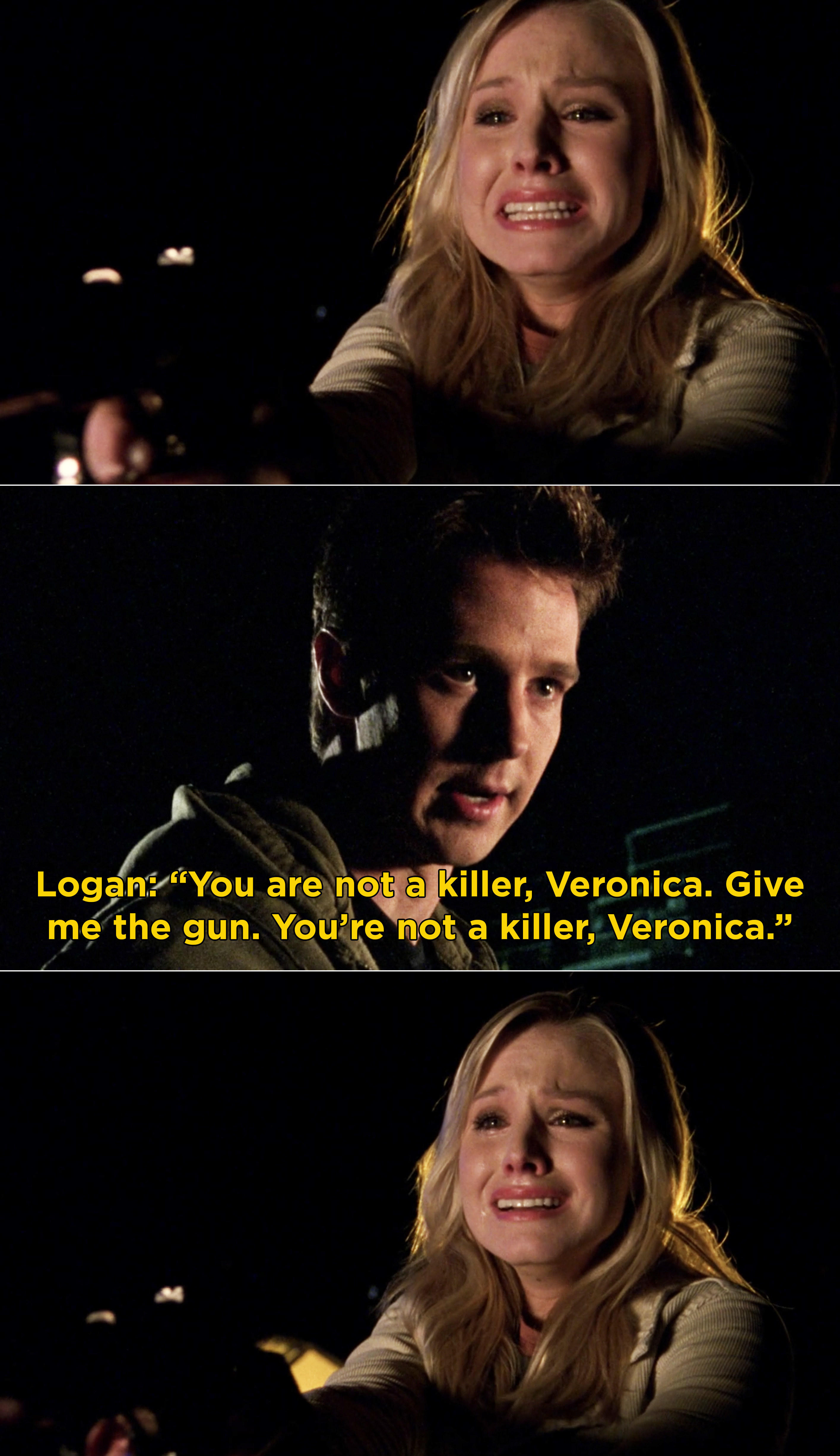 Veronica crying and Logan telling her that she's not a killer and needs to give him the gun