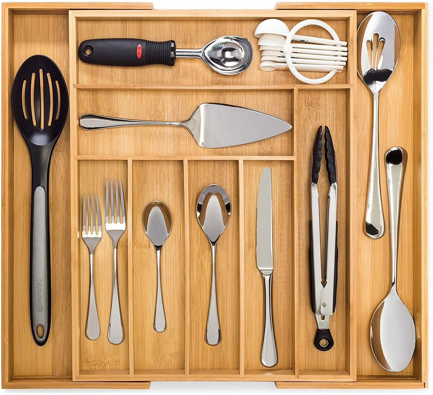 Bamboo utensil organizer partially expanded