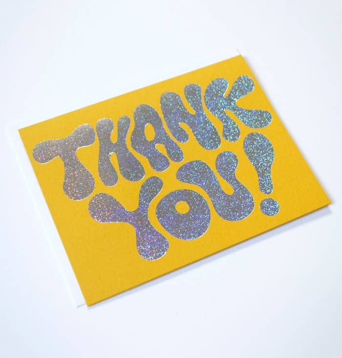 A card says thank you on the front