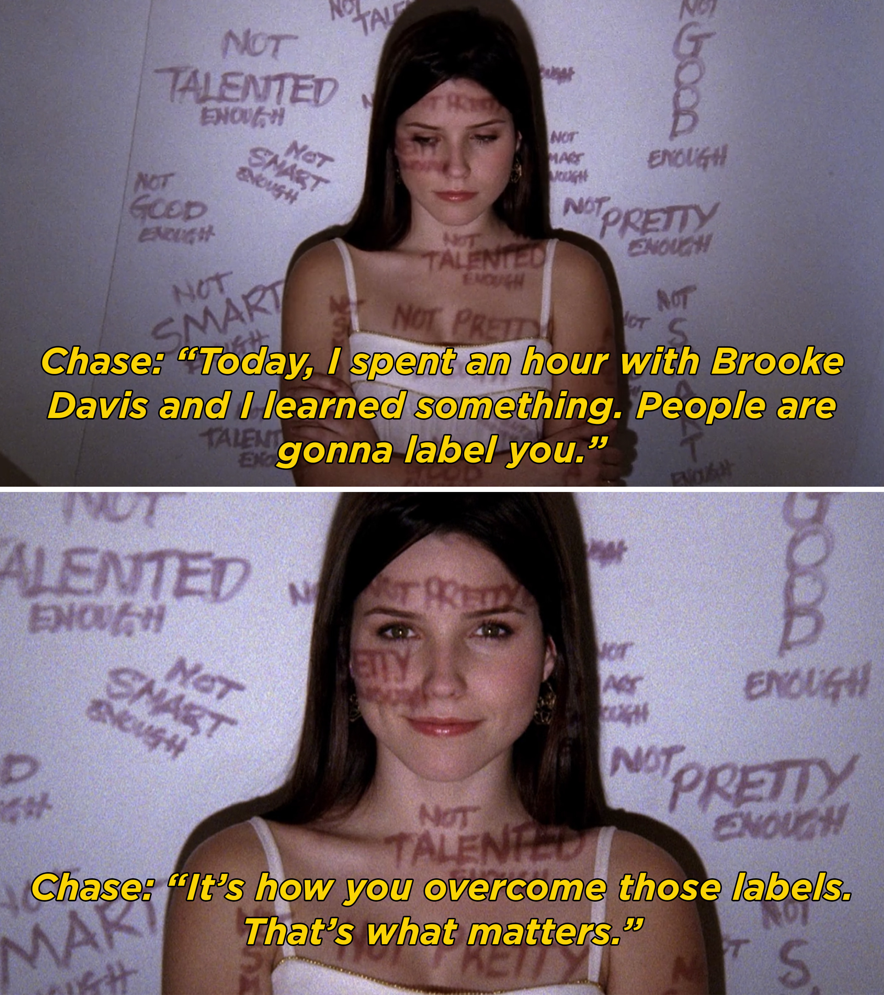 """Brooke standing with words like """"Not pretty enough"""" and """"not talented enough"""" written on her body and around her"""