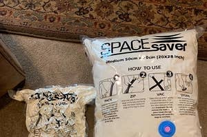 Two vacuum bags: one large with fluffy bedding and one with the air vacuumed out to shrink it