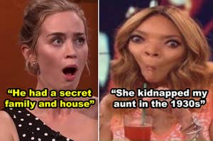 SIde-by-side of Emily Blunt and Wendy Williams looking shocked