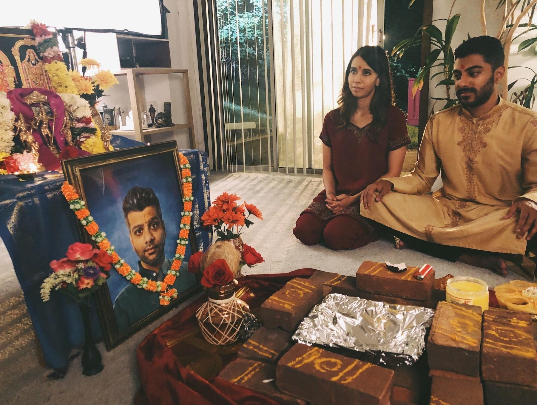 Sujata and Ritesh filming a scene together
