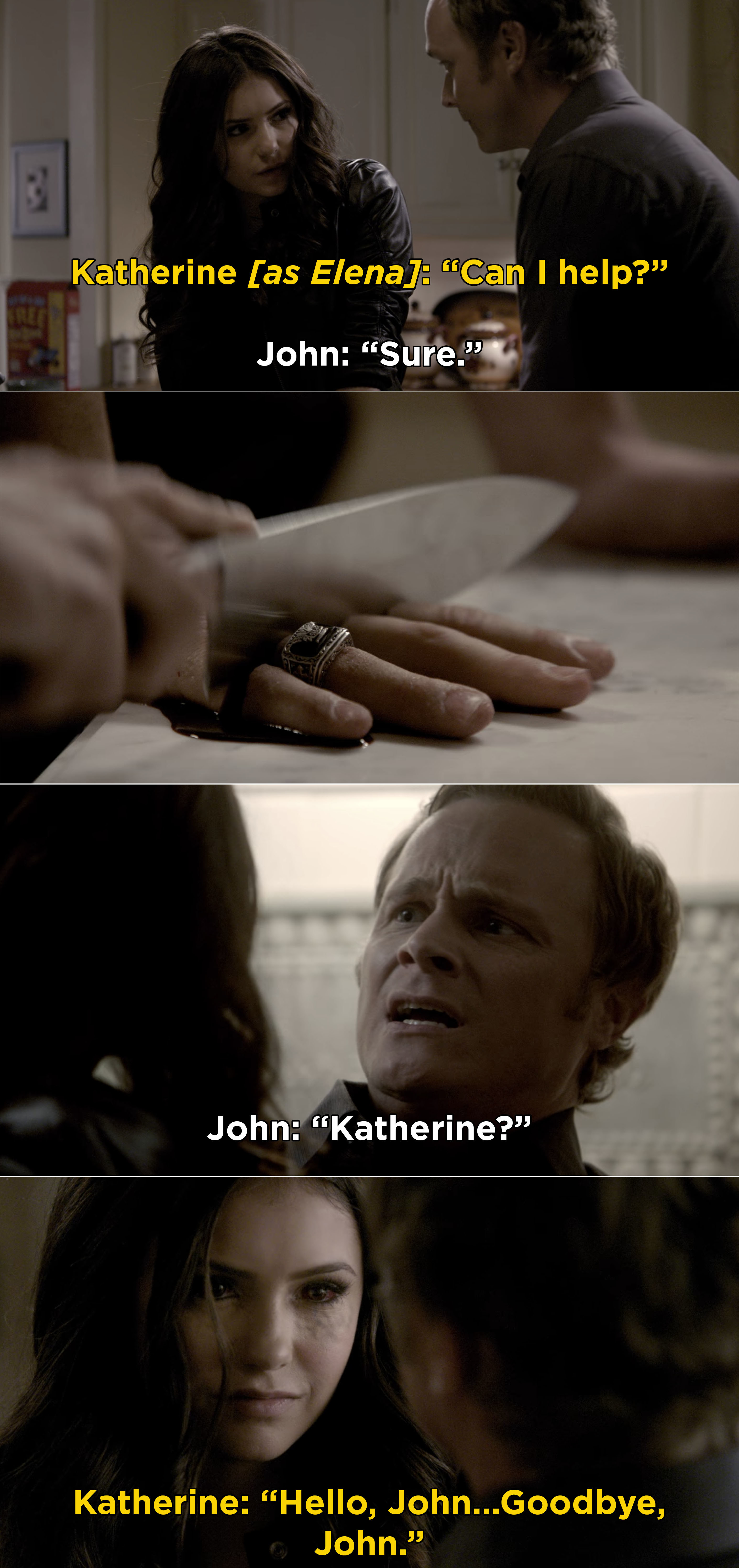 Katherine revealing herself to John and cutting off his fingers