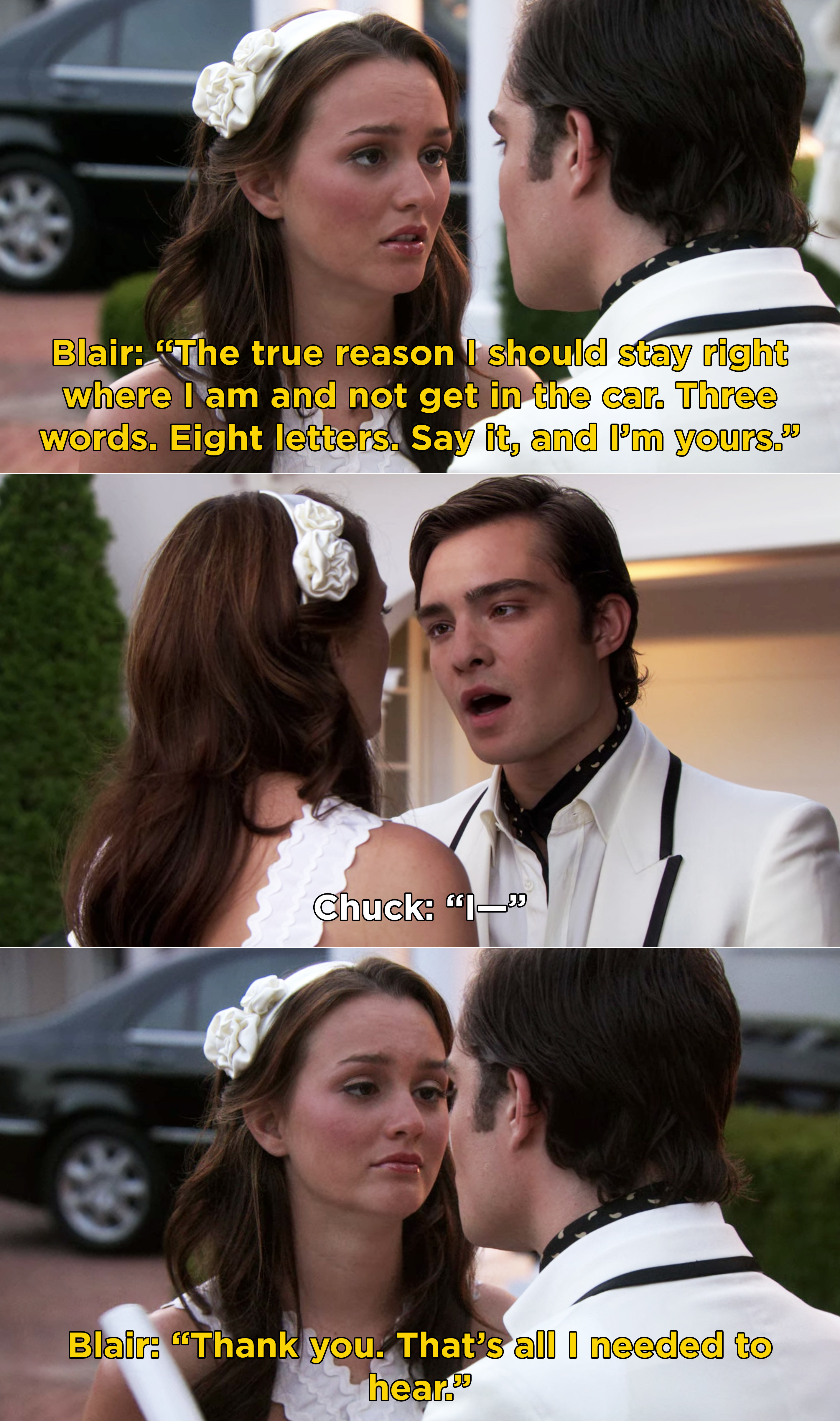 """Blair asking Chuck to say """"Three words. Eight letters"""""""