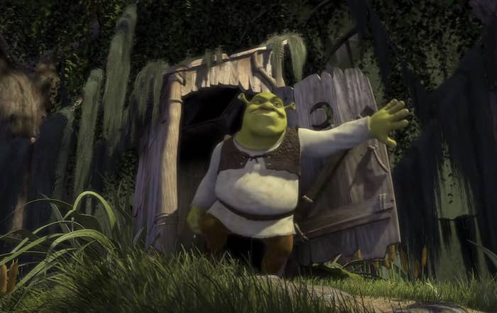 Shrek coming out of his outhouse at the beginning of the movie