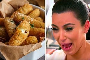 A bowl of mozzarella sticks on the left with Kim Kardashian crying on the right
