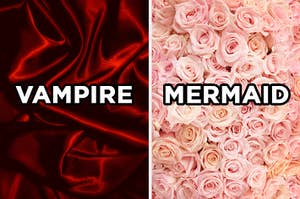 """On the left, a silk sheet labeled """"vampire,"""" and on the right, roses labeled """"mermaid"""""""