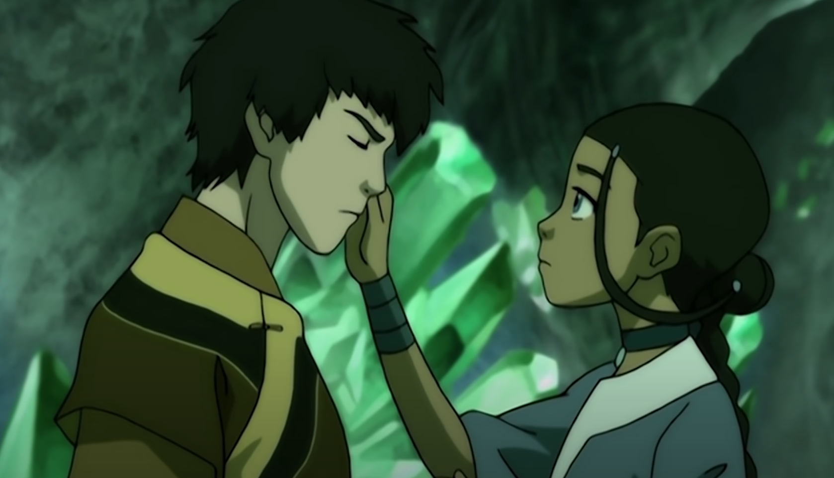 "Katara touches Zuko's face in ""Avatar: The Last Airbender."""