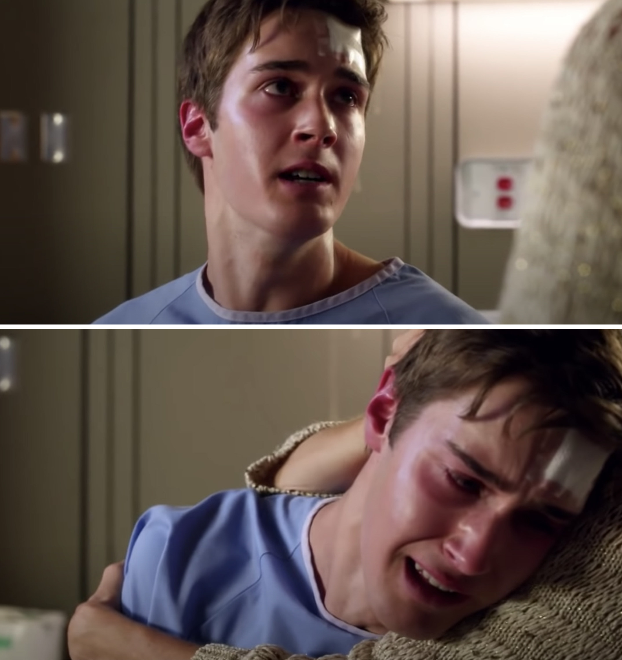 Miles crying in the hospital