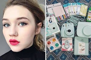 Side by side of BuzzFeed editor and Fujifilm Instax Mini 9 bundle