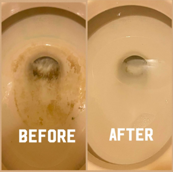 On the left a before picture of a customer's toilet with yellow stains. On the right an after picture of the stains gone from the toilet bowl.