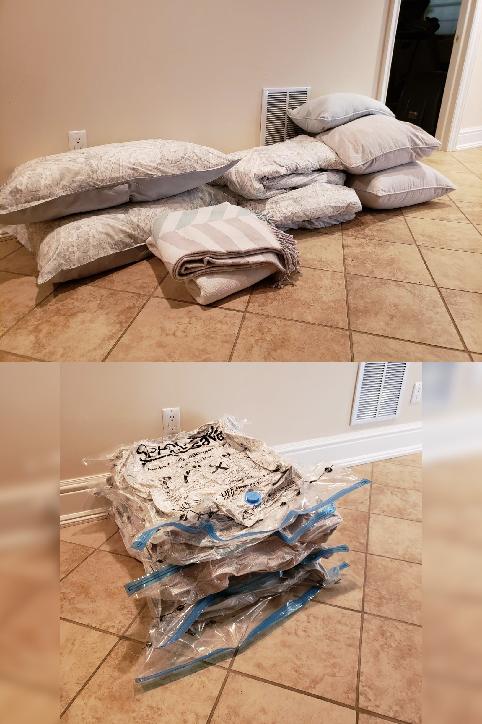 A reviewer's bedding set with two king-size pillows, three accent pillows, a comforter, and two throws which is then condensed into a small stack of four vacuum-shrunk bags that, stacked, stand no taller than the outlet on the wall