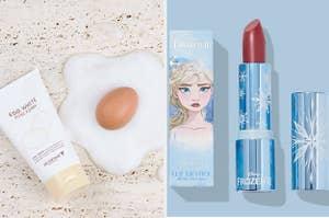 left, egg cleanser, right, Frozen lipstick