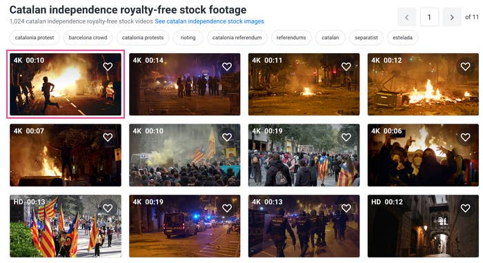 """Screenshot of the Shutterstock website showing the video under """"Catalan independence royalty-free stock footage"""" header."""