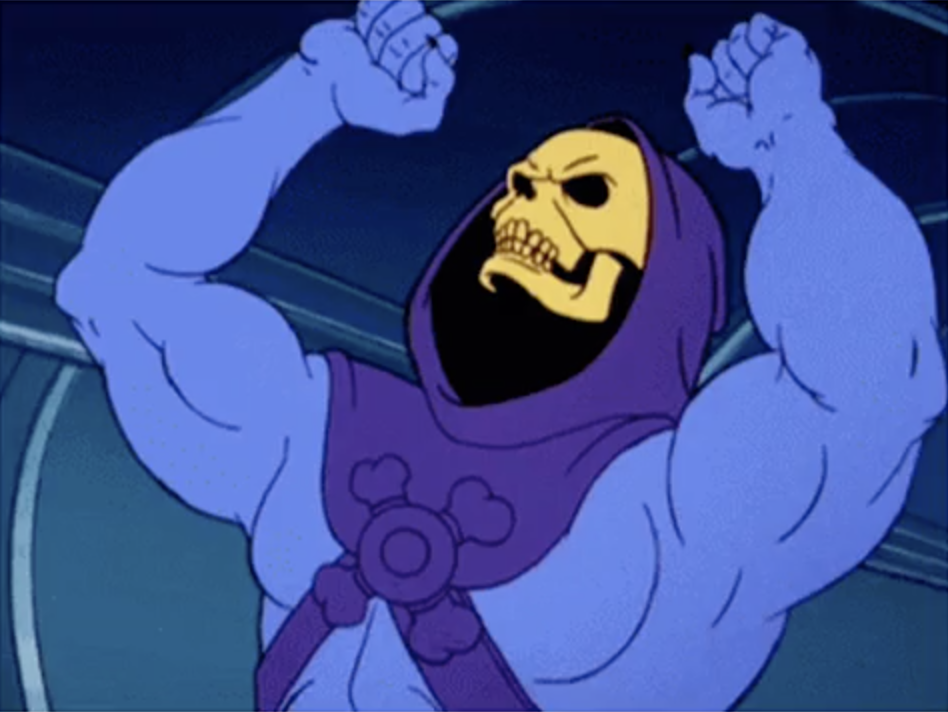 Skeletor angrily shaking his fist at the sky