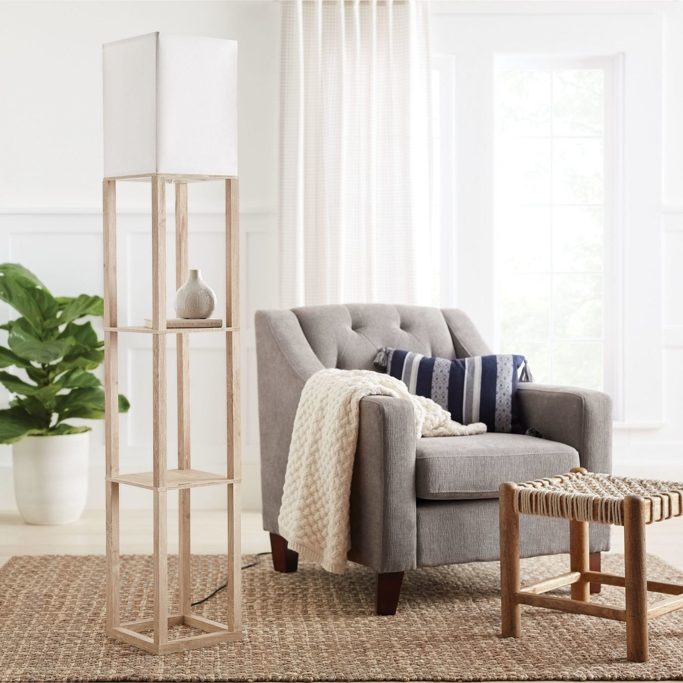 The square two-tier wood shelf with a light at the top