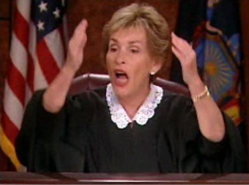 Judge Judy angry in her courtroom