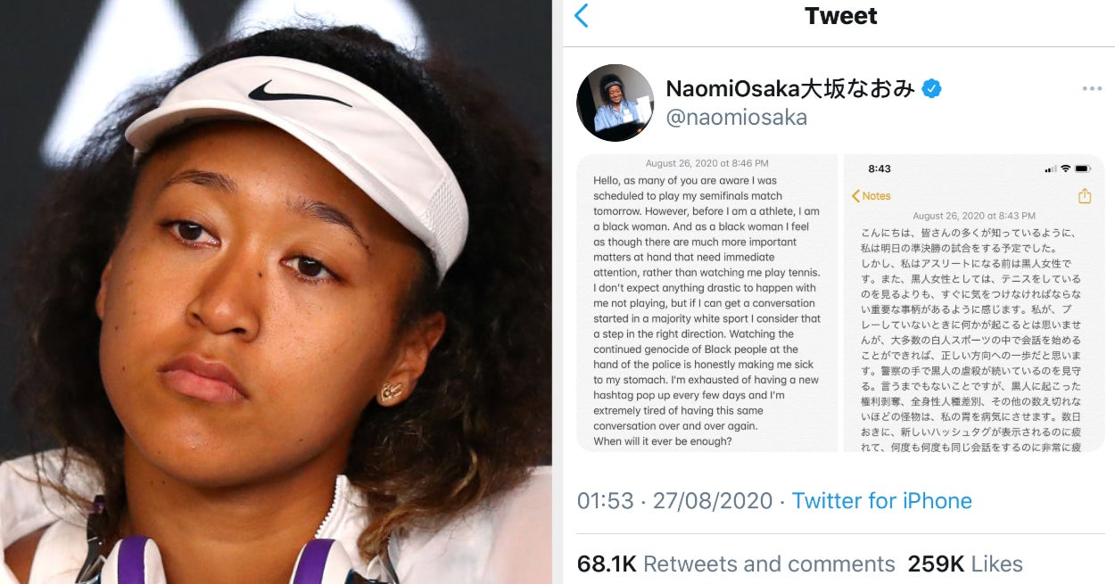 Naomi Osaka, The Highest-Paid Female Athlete, Has Withdrawn From A Tennis Match In Protest Of The Shooting Of Jacob Blake