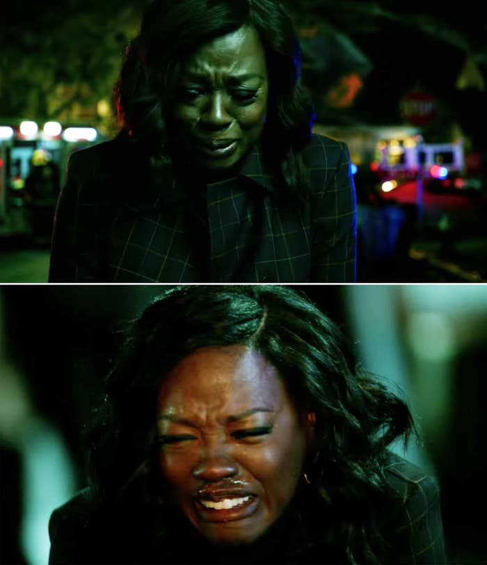 """Viola Davis as Annalise in """"How to Get Away with Murder"""" shifting from a few tears to fully sobbing"""