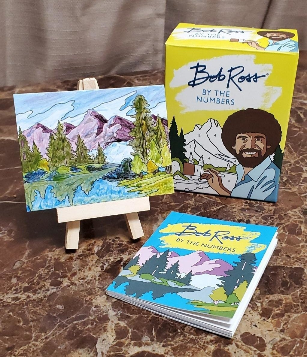 Reviewer's photo of their mini painting of mountains and trees